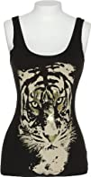 ROMEO AND JULIET COUTURE Womens Black ribbed Tank Top with