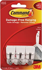 3M Small Wire Hooks, 3-Hook