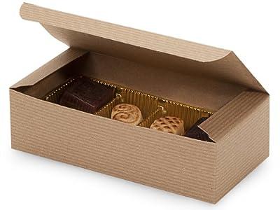 "Set of 25 - 1 lb. KRAFT TAN Candy Wedding Party Favor Boxes 7"" x 3-3/8"" x 2"""
