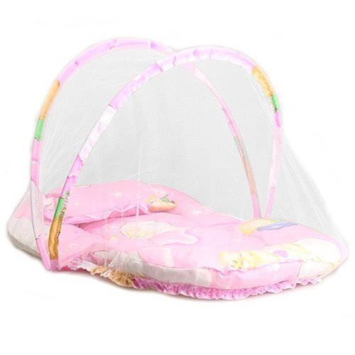 Bigoneshop Folding Baby Infant Mosquito Net Netting Crib Canopy Bed With Cotton-Padded Mattress Pillow Playpen Play Insect Cradle Tent Camping Foldable Cushion Mattress Set For Travel,Home front-26882