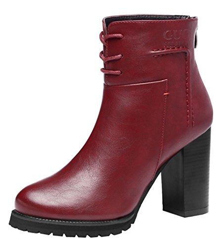 Guciheaven Women Winter New Style The Czech Diamond Mesh Rough Heels(5.5 B(M)Us, Red)