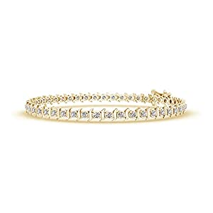 Slanted Curl Block Harmony Diamond Tennis Bracelet in 14K Yellow Gold (Color: K, Clarity: I3, Weight: 0.5ctwt)
