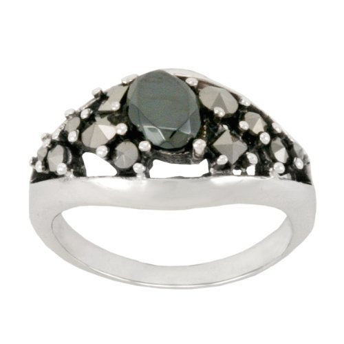 Sterling Silver Marcasite and Hematite Oval Band Ring, Size 7