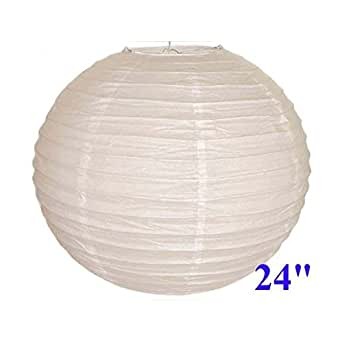"White Chinese/Japanese Paper Lantern/Lamp 24"" Diameter - Just Artifacts Brand"