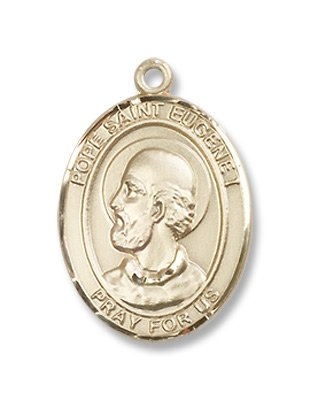Gold Filled Pope Saint Eugene I Medal Pendant Charm with 18