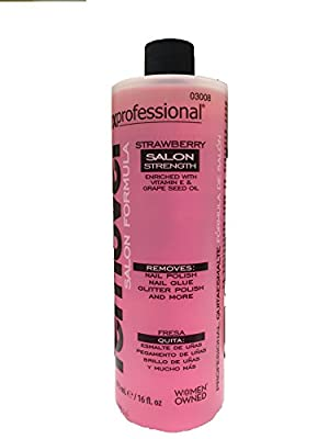 Onyx Professional Salon Strength Formula Nail Polish Remover Strawberry Scented 16 oz - Removes Polish, Nail Glue, Nail Glitter & Conditions Nails with Vitamin E & Grape Seed Oil