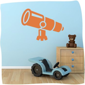 Telescope Vinyl Wall Art 1 - Vinyl Sticker Wall Art Deco Decal - 50Cm Height,50Cm Width - Black Vinyl