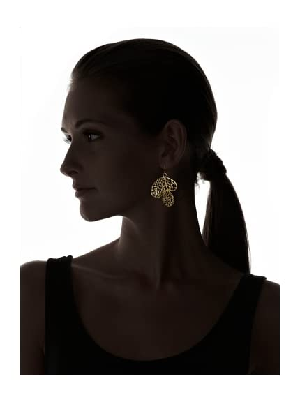 Argento Vivo Women's Gold 3 Leaf Lace Earrings