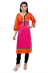MSONS Women's Pink Embroidered Button V-Neck Long Cotton Kurti