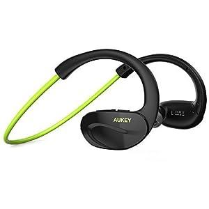 AUKEY Auriculares inalámbricos deportes Bluetooth 4.1 estéreo con micrófono para Correr, headphone sport casco para iPhone, iPad, LG, Samsung y Otros Teléfonos Móviles ( Verde EP - B13 )