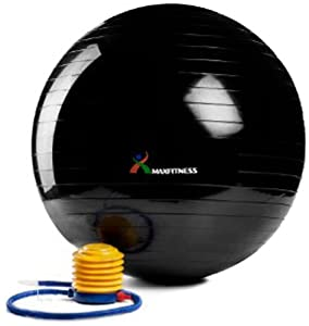 Max Fitness 75cm Exercise Ball with Foot Pump (Black)
