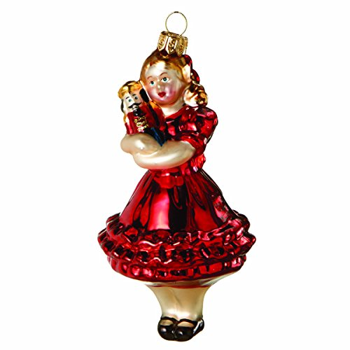 Red Ballerina Holding a Nutcracker Glass Christmas Ornament