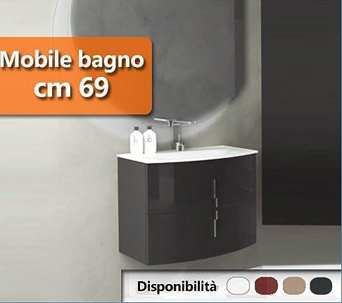 Mobile Arredo Bagno da 69 cm sospeso moderno disp. in 4 colori arrotondato Mobili