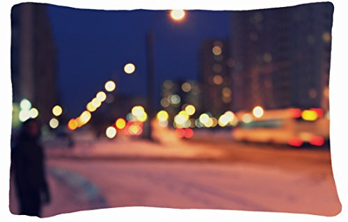 Microfiber Peach Queen Size Decorative Pillowcase -City Night Street Lights Light City Man Bokehi Blur No Focus Bus Home front-856173