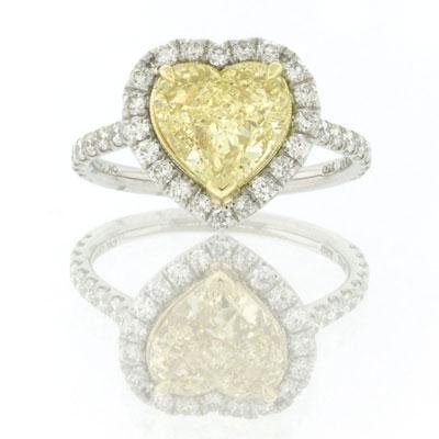2.75ct Fancy Yellow Heart Shape Diamond Engagement