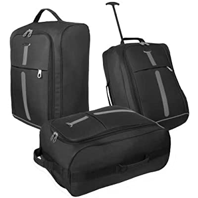 Borderline Lightweight Hand Luggage Travel Holdall Baggage Wheely Suitcase Black/Grey Stripe Cabin Approved Bag Ryanair Easyjet And Many More - 1.4k - 40 Litres