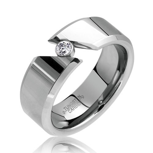 Bling Jewelry Smooth Tension Set Cubic Zirconia Tungsten Ring 8mm