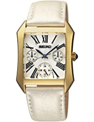 Seiko Wrist Watch For Women, SKY736P2, White Rectangular Dial, White Leather Strap, Quartz Movement, Water Resistance...