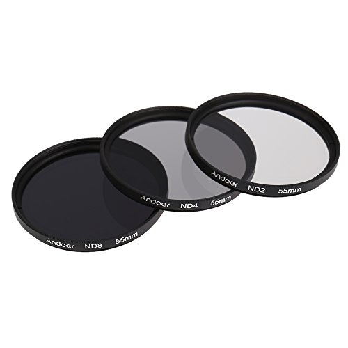 Andoer® 55mm Fader ND-Filter-Set Neutral Density Fotografie Filter-Set (ND2 ND4 ND8) für Nikon Canon Tamron Sigma Sony Alpha A200 A450 A300 DSLRs