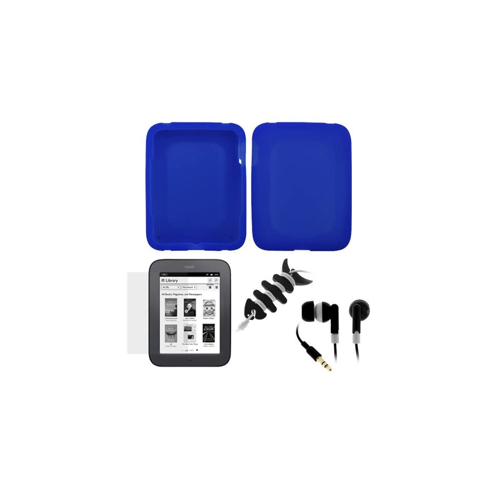 GTMax Black Keyboard Silicone Cover Skin for Apple Macbook / Macbook Pro 13 15 17 + Mini Keyboard BrushGTMax Blue Silicone Skin Rubber Soft Case + Clear LCD Screen Protector + Black Stereo Headset with Soft Gel Earbud + Fishbone Headset Wrap for Barnes