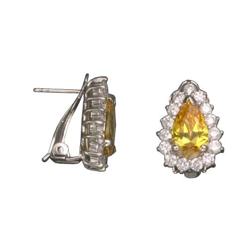 Allegria's 925 Sterling Silver Stud Earrings Half Bezel Pear Shaped Yellow Citrine w/ CZ Diamonds Edge - Incl. ClassicDiamondHouse Free Gift Box & Cleaning Cloth