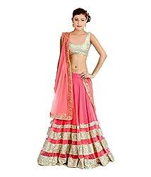 Fashion Gallery Pink Georgette Net Designer Lehenga