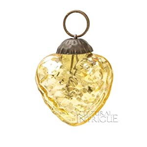 Mini Gold Mercury Glass Ornament (embossed heart design)