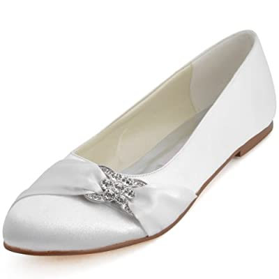 ElegantPark EP2006 Women Satin Rhinestones Flats Close Toe Wedding Party Shoes
