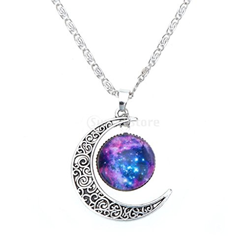 Retrš° Cava Luna Crescente Pendente In Argento A Catena Monili Collana # 10
