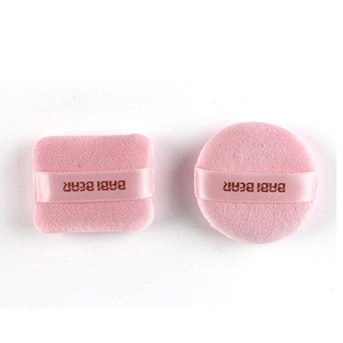 Bigban Women Girls 2 pc Super Smooth Thickening Superfine Cotton Powder Puff (Pink)