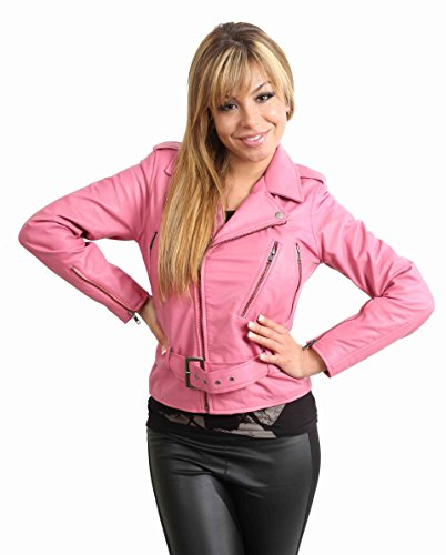 Funky Biker Leather Jacket for Women Ladies Jacket Abbi Pink (LARGE)