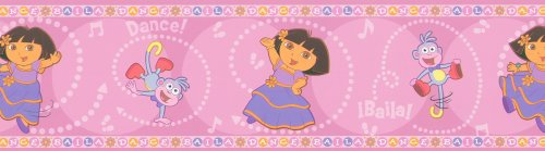 Brewster 147B00981 Nickelodeon Dora Dancing Wall Border, Pink