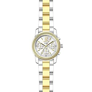 Invicta Women's Angel Gold-Tone Steel Bracelet & Case Swiss Quartz Silver-Tone Dial Analog Watch 21715