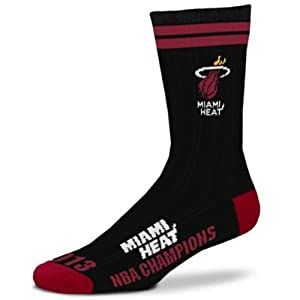Miami Heat 2013 NBA Champions Crew Socks Size Large 10-13 - For Bare Feet by For Bare Feet