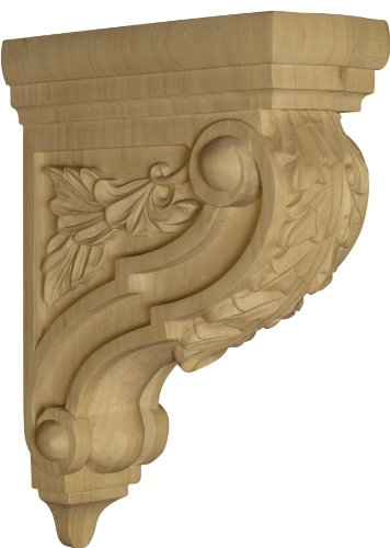 Athens Bar Corbel With Acanthus Leaves In Soft Maple - 12 1/4 X 3 1/2 X 8