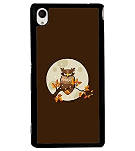 Printvisa Animated Owl With Brown Background Back Case Cover for Sony Xperia M4 Aqua::Sony Xperia M4 Aqua Dual