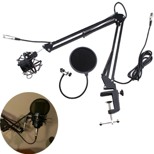 Image Microphone Arm Stand With Shock Mount + Flexible Microphone Mic Pop Filter