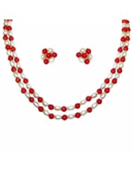 Nisa Pearls White And Red Necklace For Women