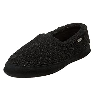 ACORN Men's Tex Moc Slipper,Black Berber,Medium (US Men's 9M-10M)