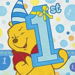 Pooh's 1st Birthday Boy Beverage Napkins 16ct - 1