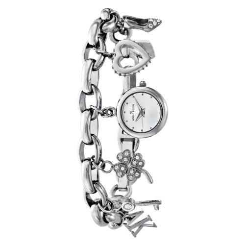 AK Anne Klein Women's  10-7605CHRM Swarovski® Crystal Silver-Tone Charm Bracelet Watch
