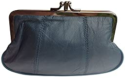 Visnow® 100% Genuine Leather Double-Pocket Change Purse with Clasp (Deep Blue)