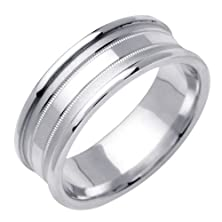 buy 14K White Gold With Polished Concave Accent And Round Edges. 7.5Mm Width Comfort Fit Unisex Wedding Band