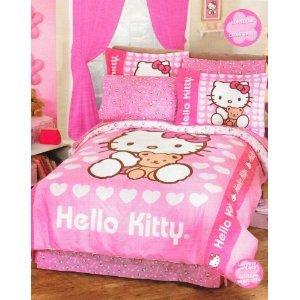 hello kitty love pink girls comforter bedding set twin