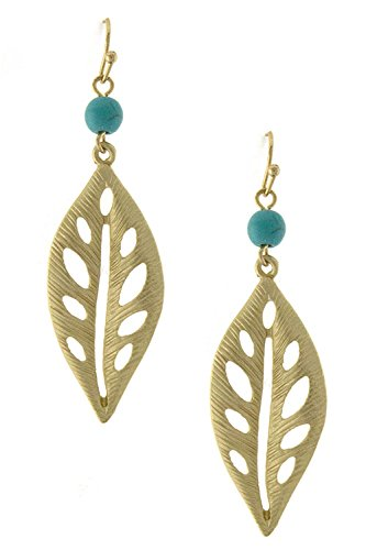 Diva & Duchess Charming Detailed Cutout Leaf And Bead Drop Earring (Gold) front-323736