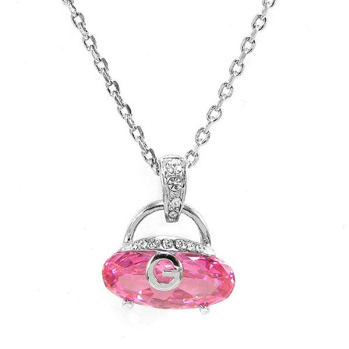 Perfect Gift   High Quality Cutie Handbag Pendant with Pink Crystal Glass and Silver Swarovski Crystals and Necklace (2864) for Birthday Wedding Gift Free Standard Shipment Clearance