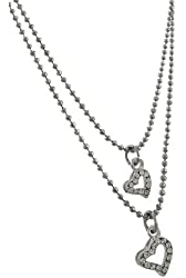 Double Strand Bead Chain Anklet with Rhinestone Heart Charms