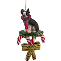 Boston Terrier Candy Cane Christmas Ornament