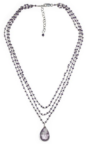 Sterling Silver Amethyst Triple Strand Necklace with Amethyst Briolette Drop, 16-18""