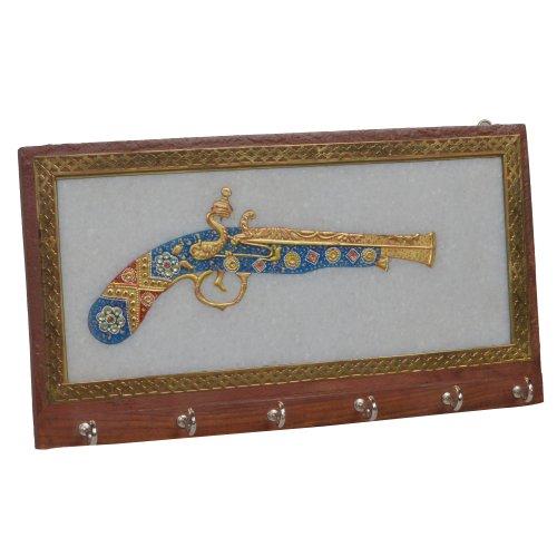 Decorazioni per la casa Premier Housewares bianco marmo con pistola d'antiquariato Design muro appendino regalo per padre 24,5 x 13,5 cm
